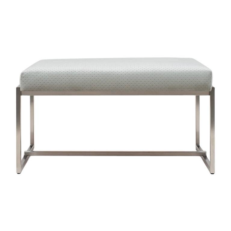 21st Century Minimalist Stainless Steel and Upholstered Velvet 'Grace' S14 Bench