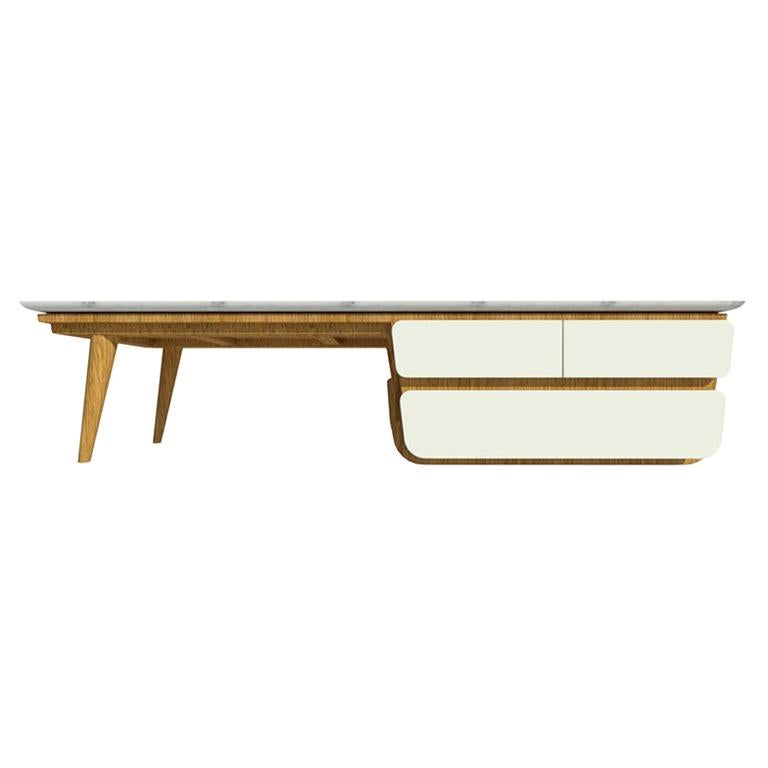 Bench Coffee Table M02 Contemporary Lacquer White Oak Marble Top Made in Italy
