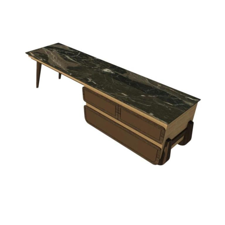 Bench Coffee Table M03 Contemporary Walnut Oak Marble Countertop Made in Italy For Sale 3