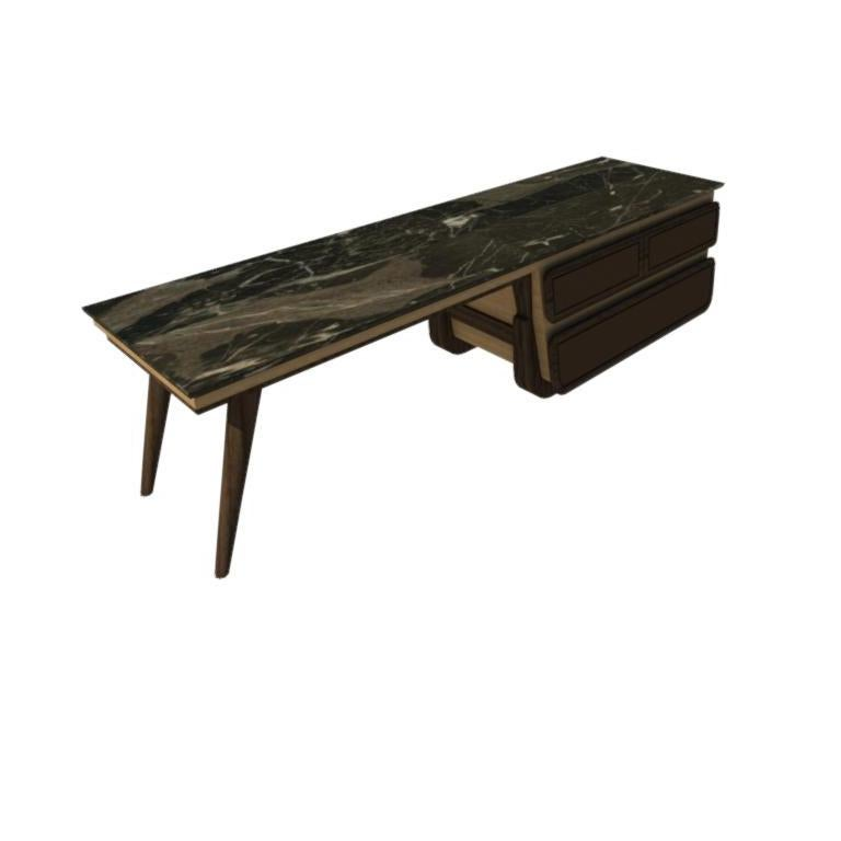 Bench Coffee Table M03 Contemporary Walnut Oak Marble Countertop Made in Italy For Sale 4
