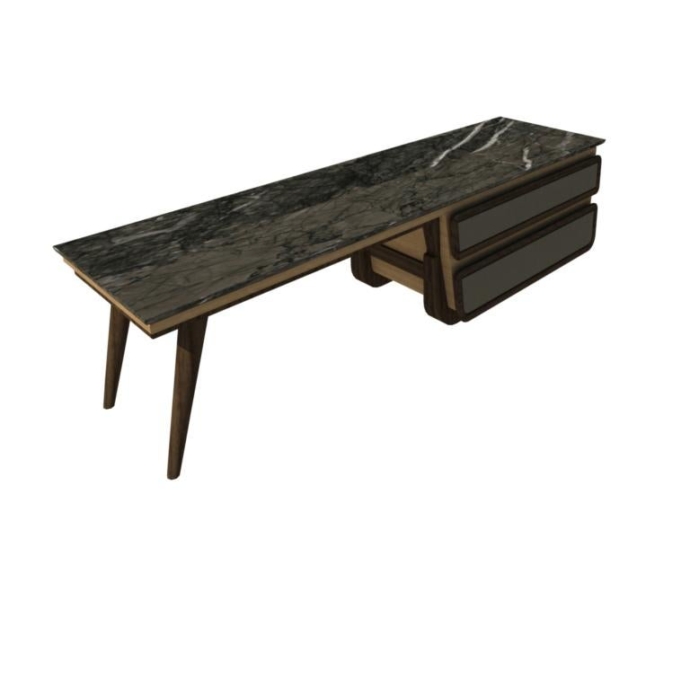 Bench Coffee Table M03 Contemporary Walnut Oak Marble Countertop Made in Italy For Sale 6