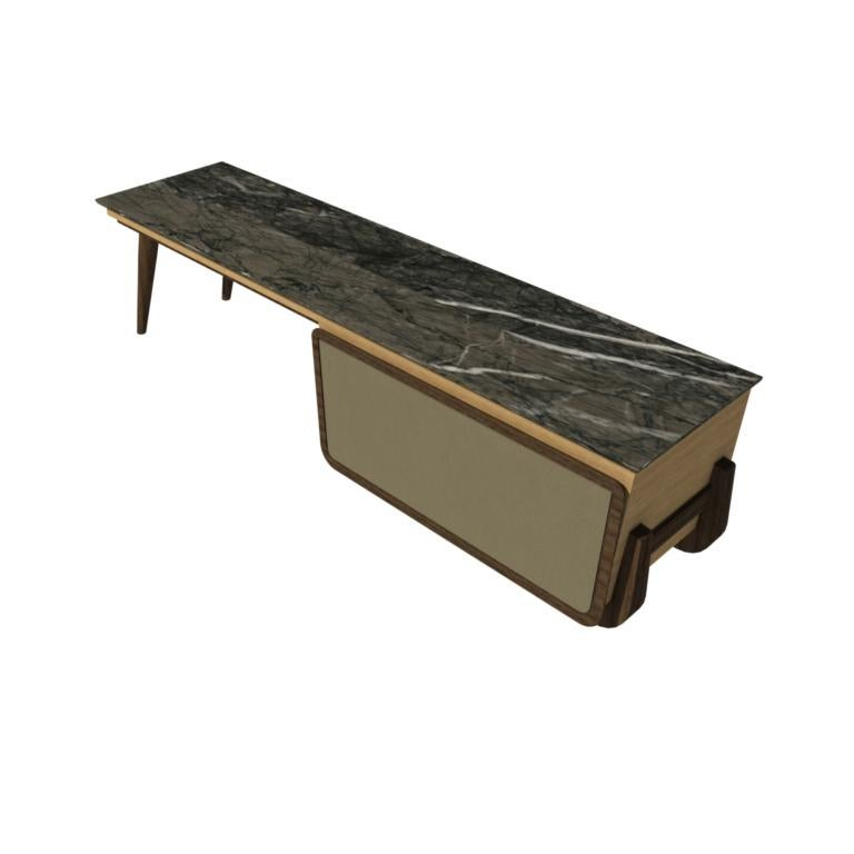 Bench Coffee Table M03 Contemporary Walnut Oak Marble Countertop Made in Italy For Sale 7