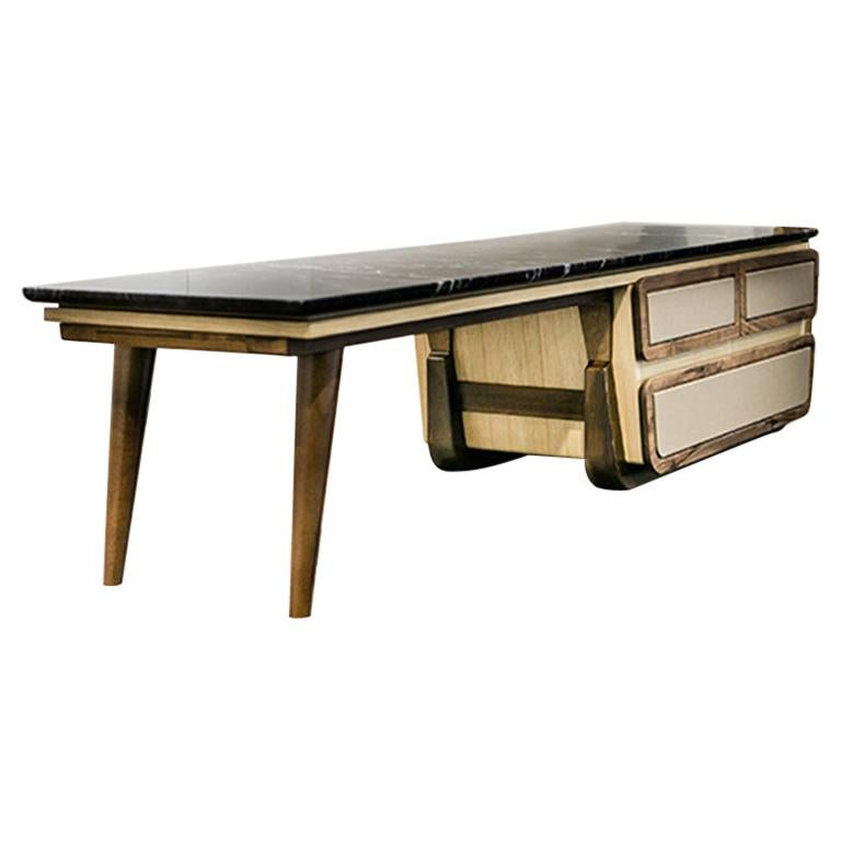 Bench Coffee Table M03 Contemporary Walnut Oak Marble Countertop Made in Italy For Sale
