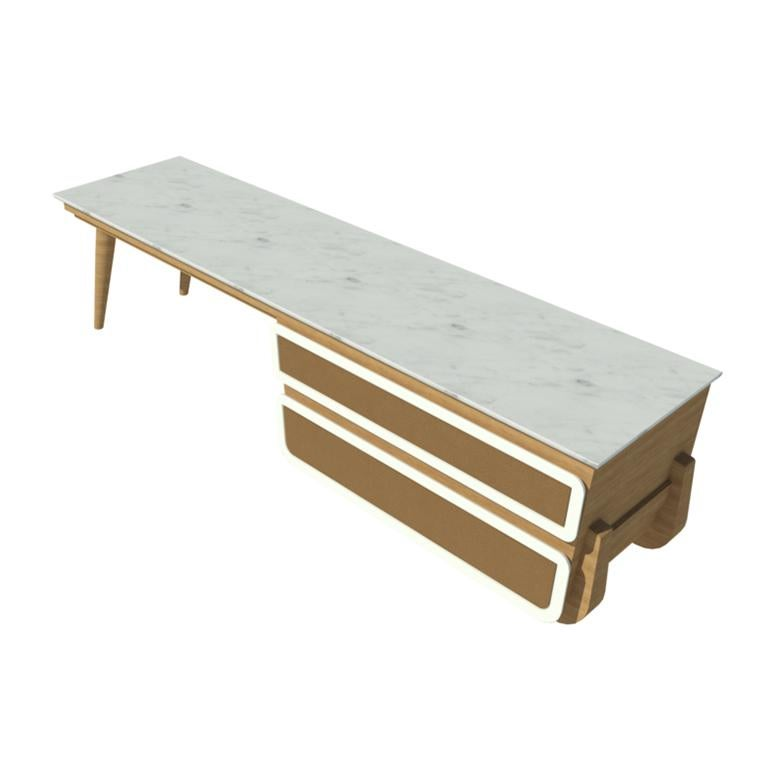 Lacquered Bench Coffee Table M04 Contemporary Lacquer White Oak Marble Top Made in Italy For Sale