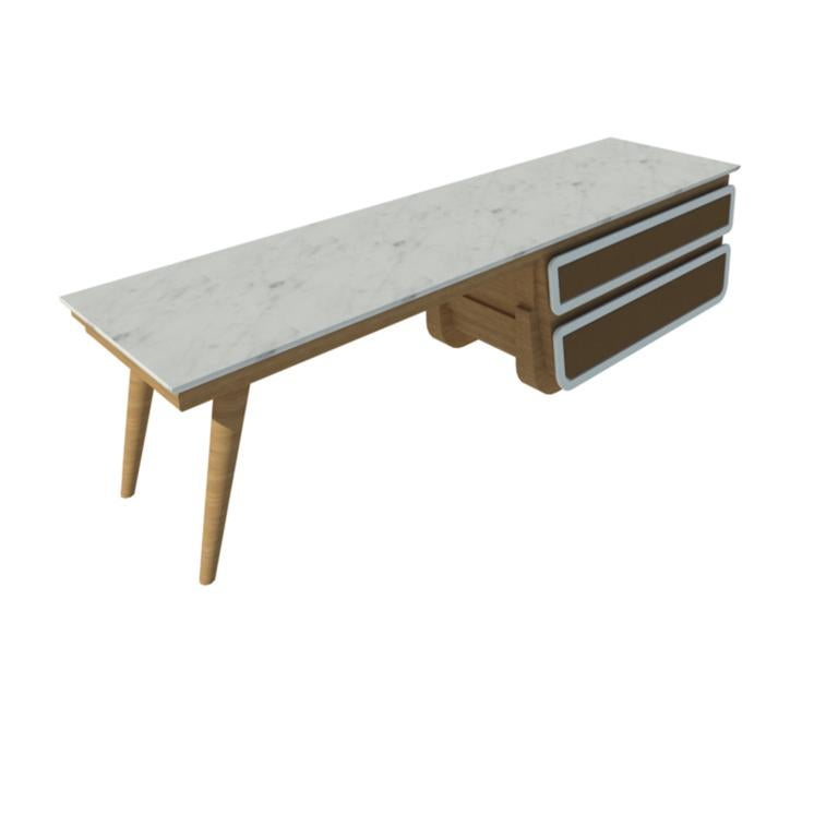 Bench Coffee Table M04 Contemporary Lacquer White Oak Marble Top Made in Italy In New Condition For Sale In Toronto, CA