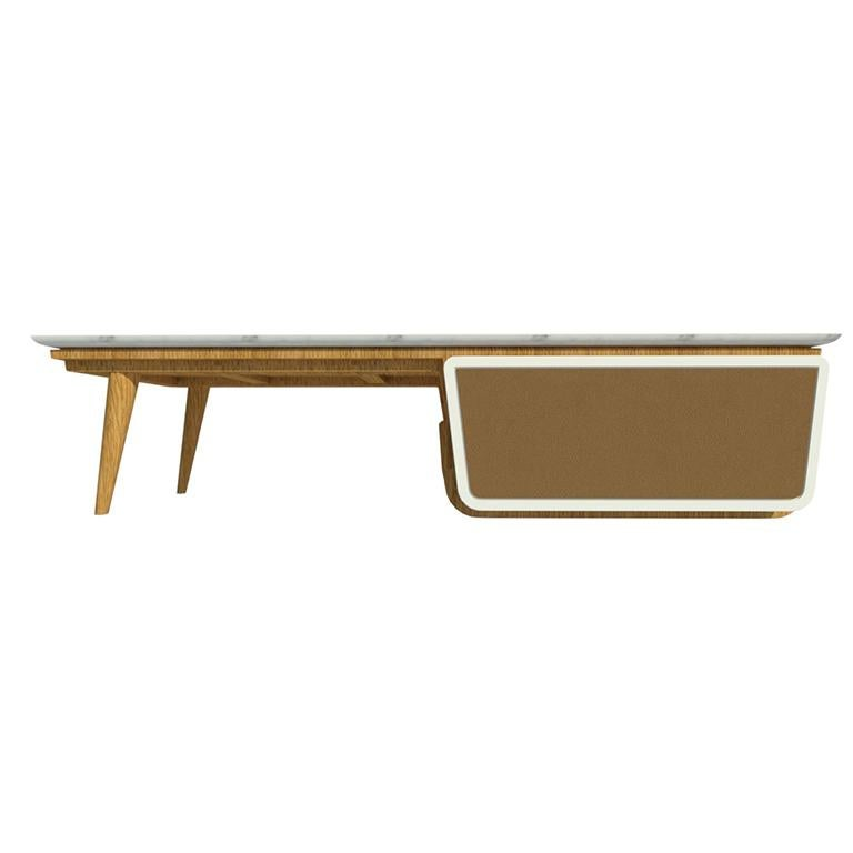 Faux Leather Bench Coffee Table M04 Contemporary Lacquer White Oak Marble Top Made in Italy For Sale