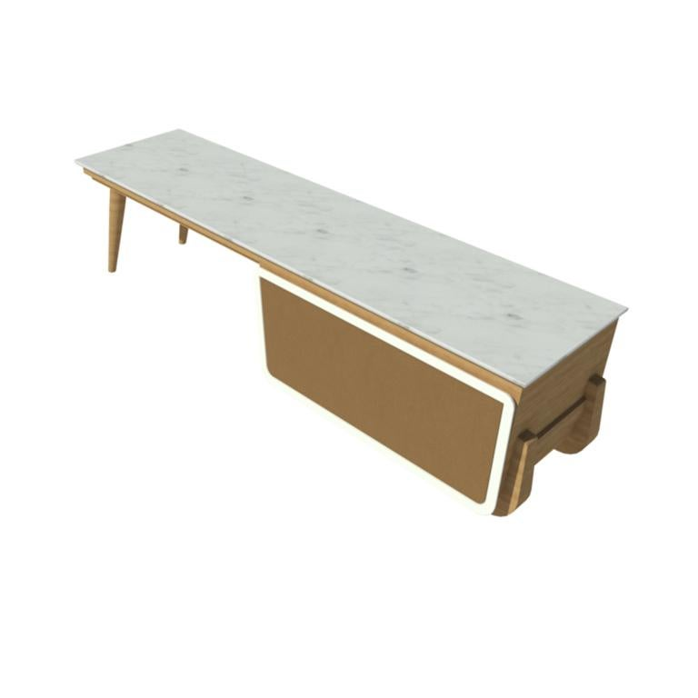 Bench Coffee Table M04 Contemporary Lacquer White Oak Marble Top Made in Italy For Sale 1