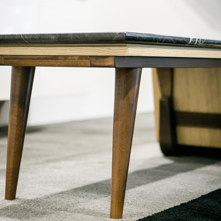Bench Coffee Table M06 Contemporary Walnut Oak Brass Marble Top Made in Italy For Sale 4