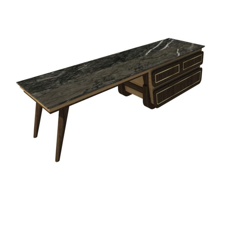 Art Deco Bench Coffee Table M06 Contemporary Walnut Oak Brass Marble Top Made in Italy For Sale