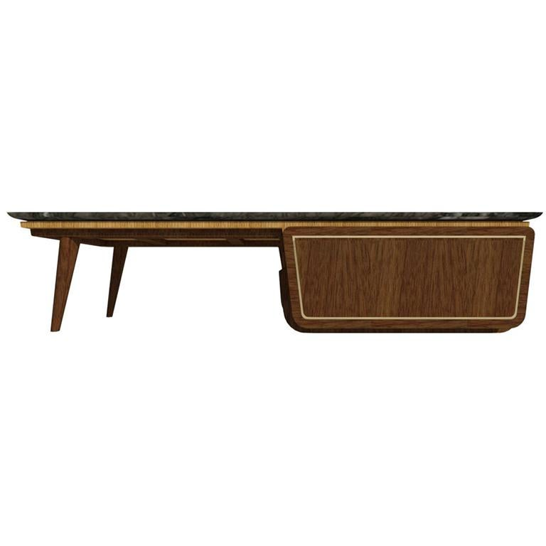 Bench Coffee Table M06 Contemporary Walnut Oak Brass Marble Top Made in Italy For Sale 1