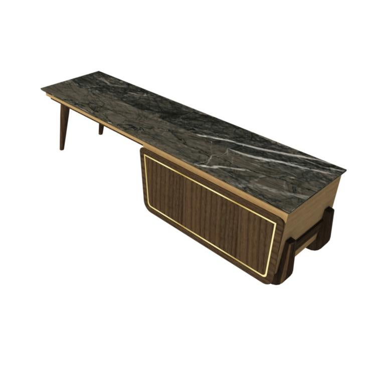 Bench Coffee Table M06 Contemporary Walnut Oak Brass Marble Top Made in Italy For Sale 2