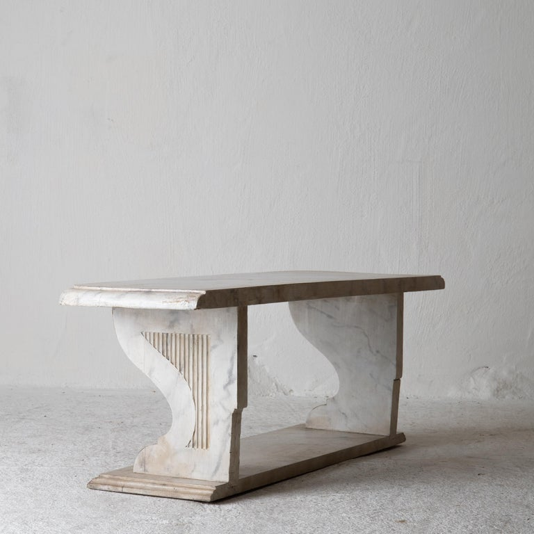 Bench Console Swedish 18th Century Faux Marble Paint, Sweden For Sale 3