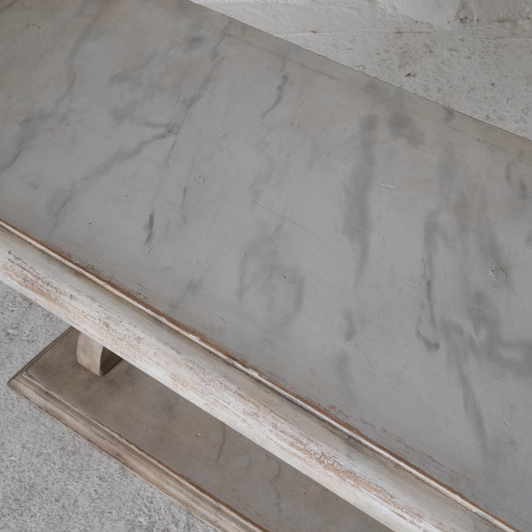Gustavian Bench Console Swedish 18th Century Faux Marble Paint, Sweden For Sale