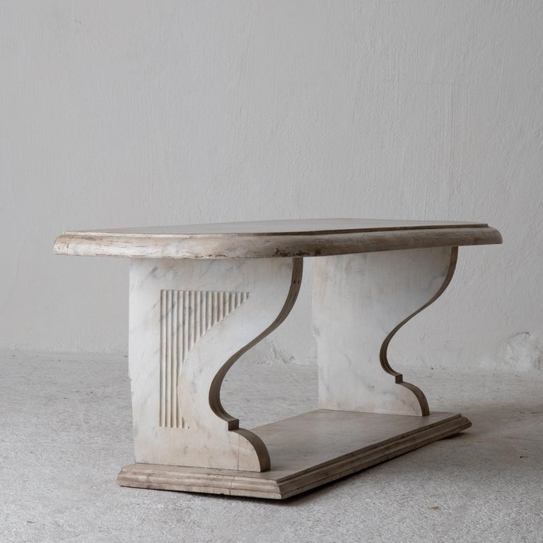 European Bench Console Swedish 18th Century Faux Marble Paint, Sweden For Sale