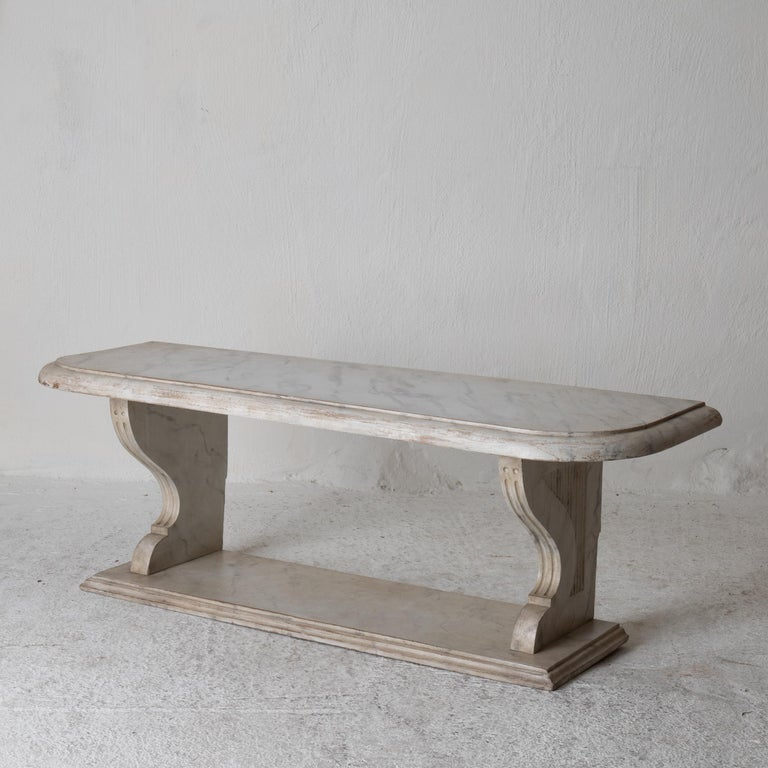 Bench Console Swedish 18th Century Faux Marble Paint, Sweden In Good Condition For Sale In New York, NY