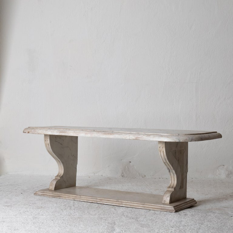 18th Century and Earlier Bench Console Swedish 18th Century Faux Marble Paint, Sweden For Sale