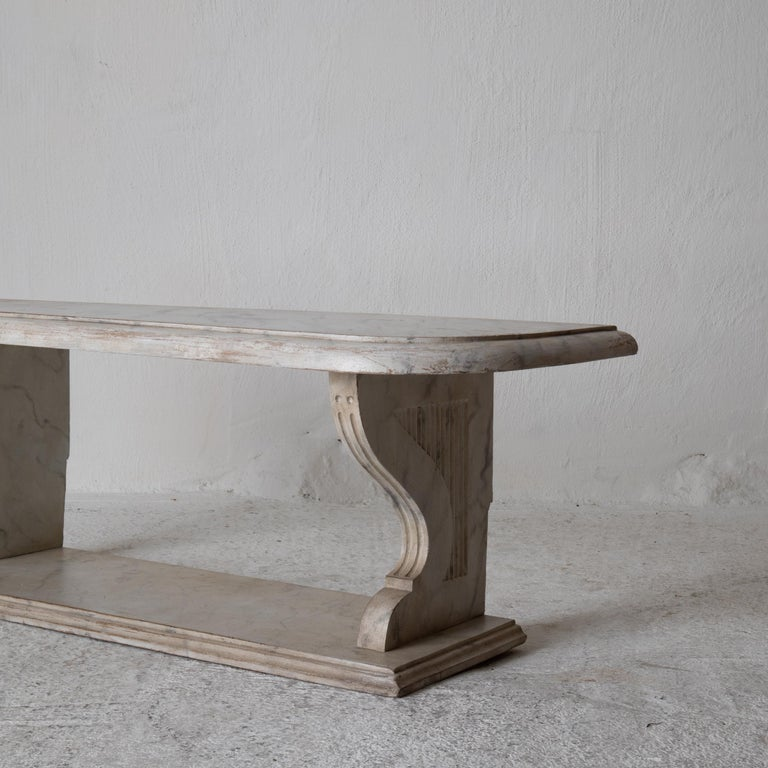 Wood Bench Console Swedish 18th Century Faux Marble Paint, Sweden For Sale