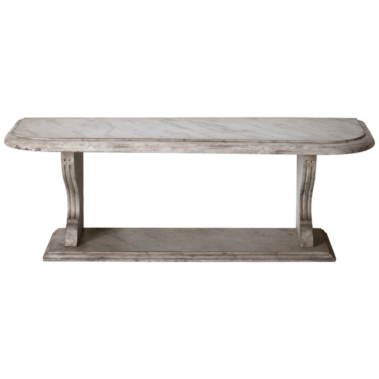 Bench Console Swedish 18th Century Faux Marble Paint, Sweden For Sale