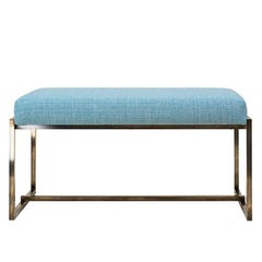 Bench Duet GB03 Brass Aged Frame, Blue Fabric, Contemporary Style