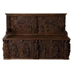 Bench European Carvings 18th Century Rare Europe