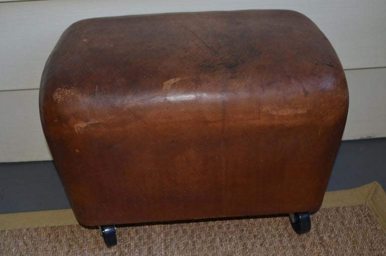 Bench, Footrest, Seat from Leather Gymnast Goat Pommel, circa 1950, Added Wheels In Good Condition For Sale In Madison, WI