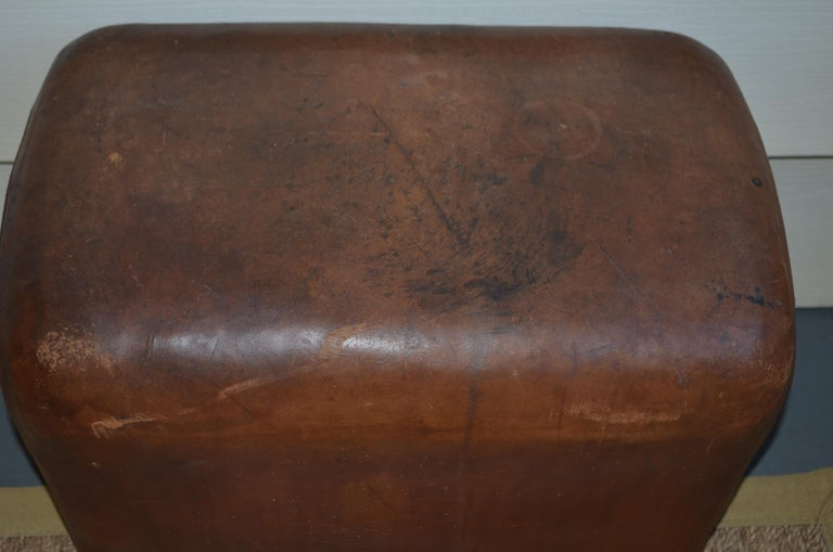 Mid-20th Century Bench, Footrest, Seat from Leather Gymnast Goat Pommel, circa 1950, Added Wheels For Sale