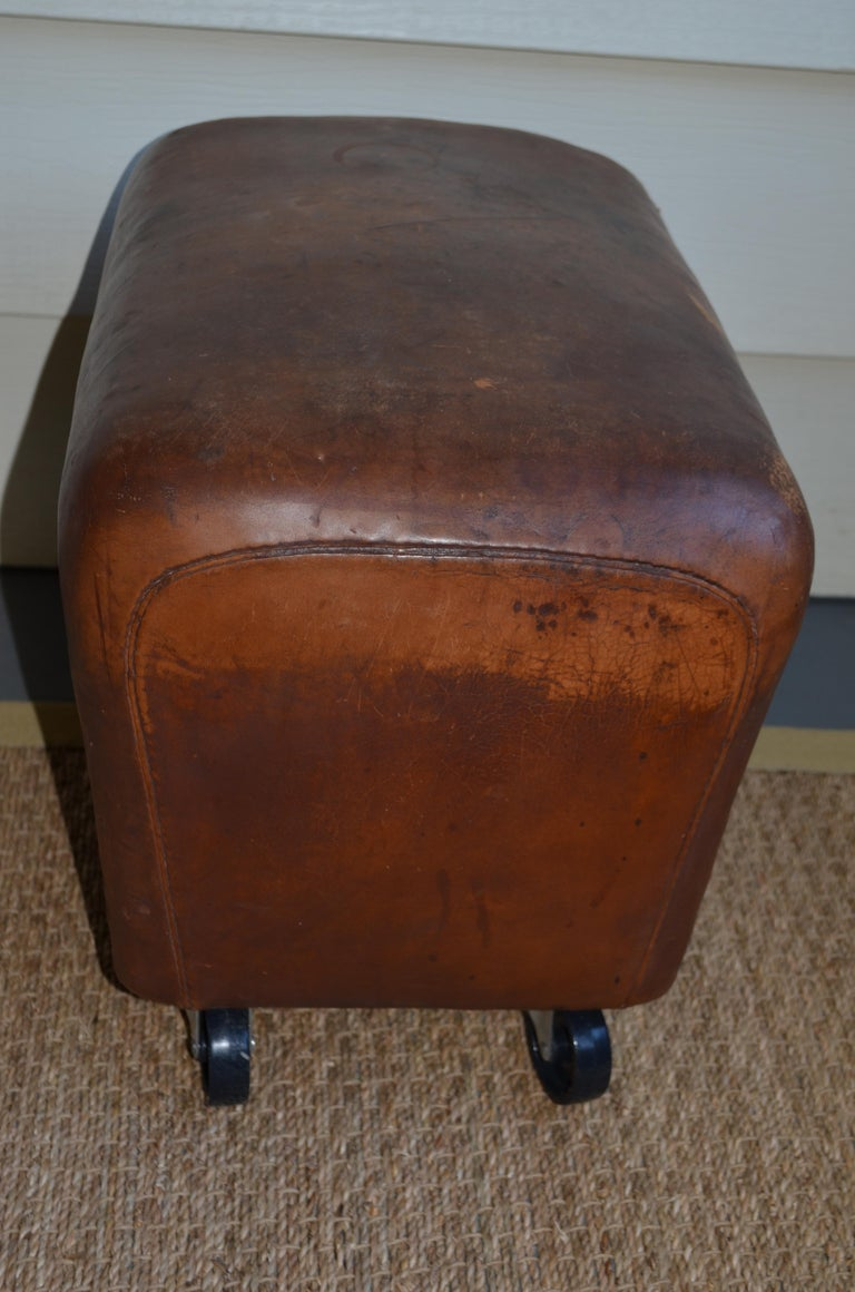 Chrome Bench, Footrest, Seat from Leather Gymnast Goat Pommel, circa 1950, Added Wheels For Sale
