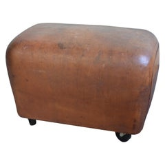 Bench, Footrest, Seat from Leather Gymnast Goat Pommel, circa 1950, Added Wheels