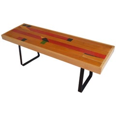 Bench from Vintage High School Gym Flooring on Painted Black Steel Bracket Legs