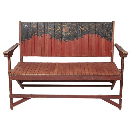 Bench Garden Painted Beech Portable Oxblood Red Folk Naïve Country Floral Fruit