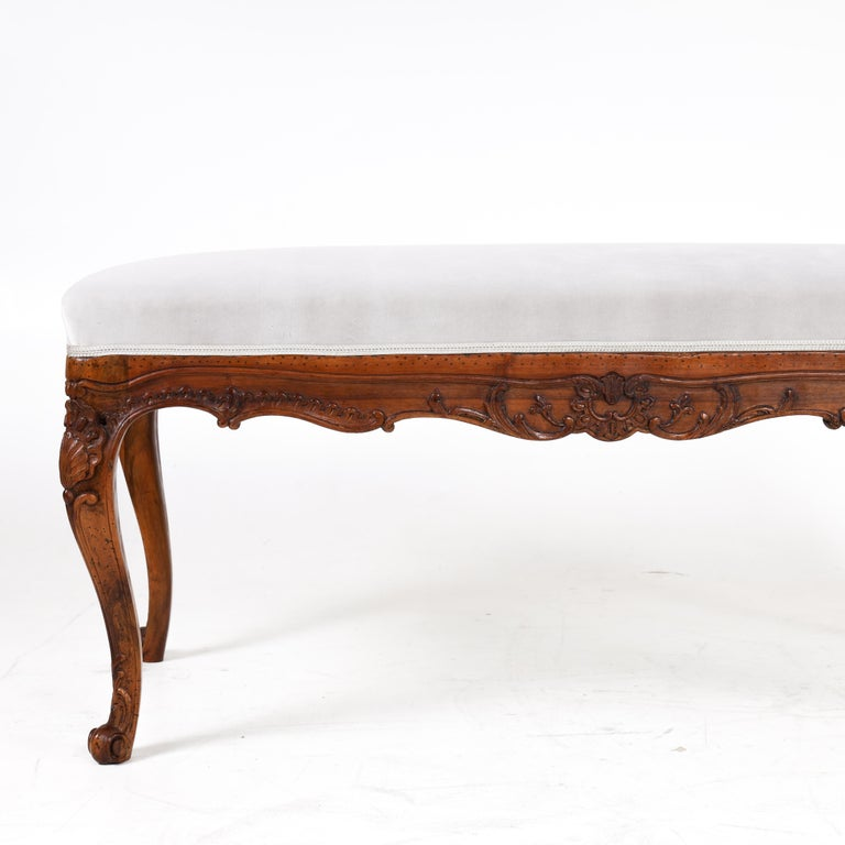 Walnut Bench in Baroque Style, 19th Century For Sale