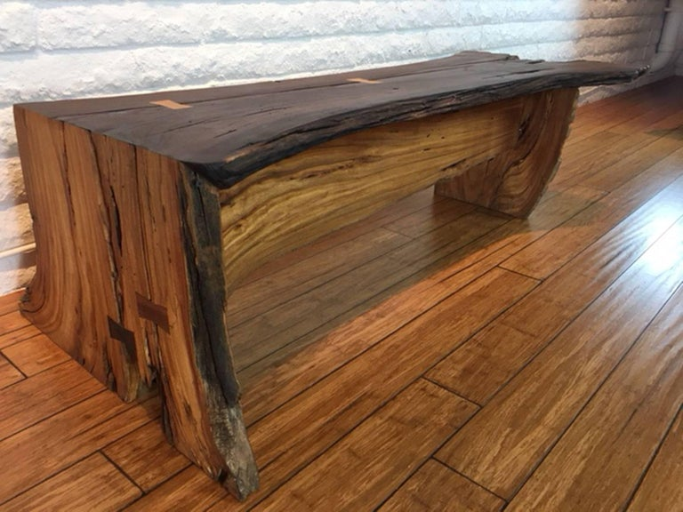 Bench In Pecan Wood With Inlay For Sale At 1stdibs