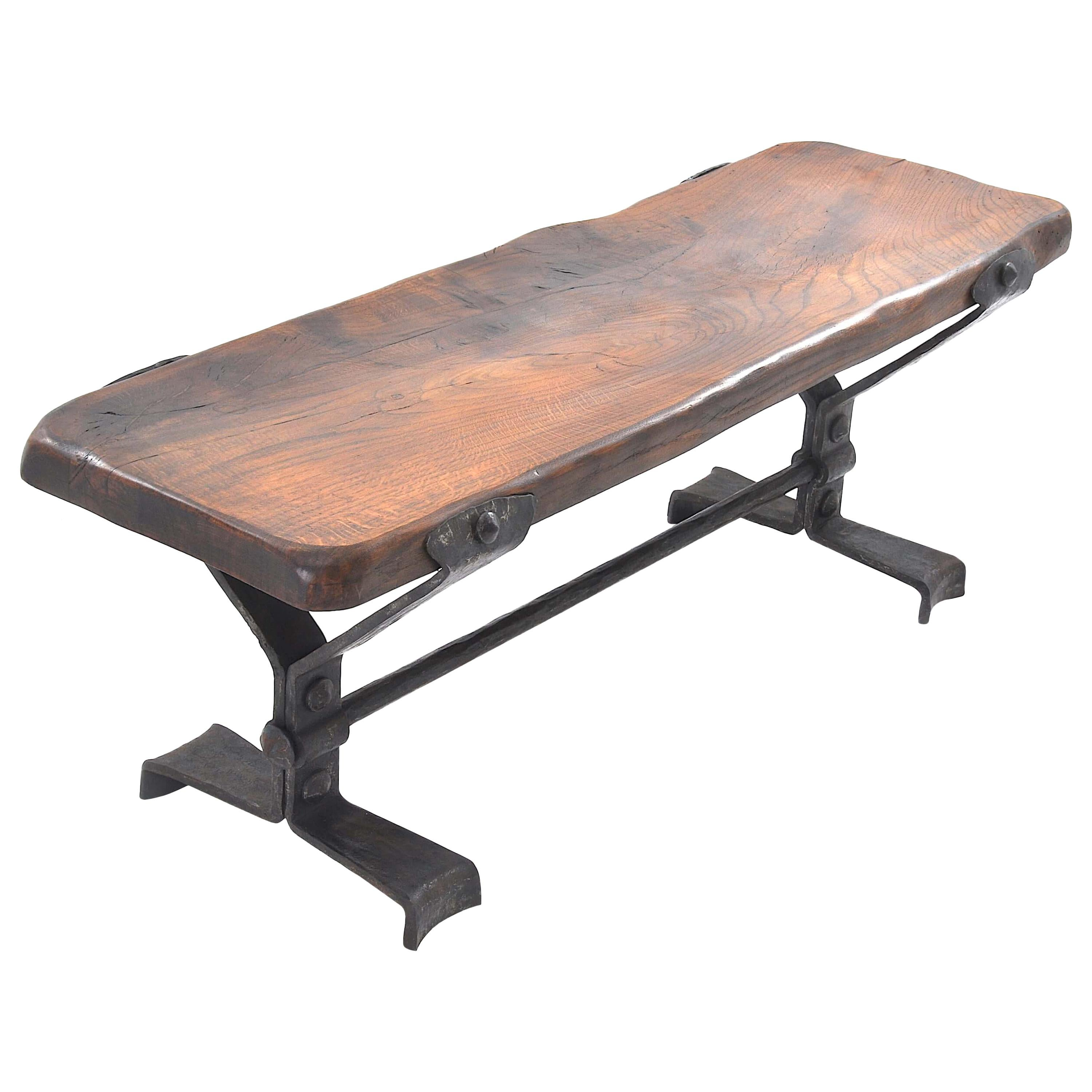 Bench in Solid Wood and Wrought Iron, France, 1950