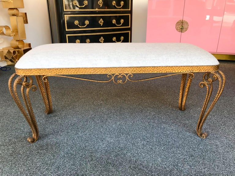 Mid-Century Modern Bench Iron Gold Leaf by Pier Luigi Colli, Italy, 1950s For Sale