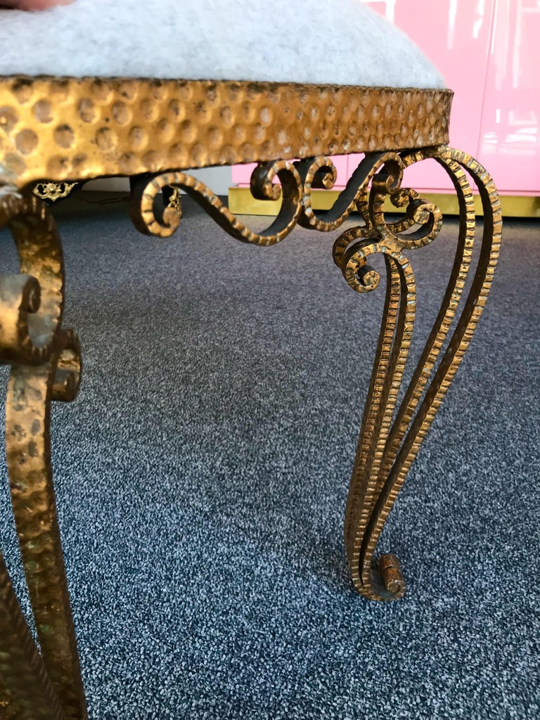 Mid-20th Century Bench Iron Gold Leaf by Pier Luigi Colli, Italy, 1950s For Sale