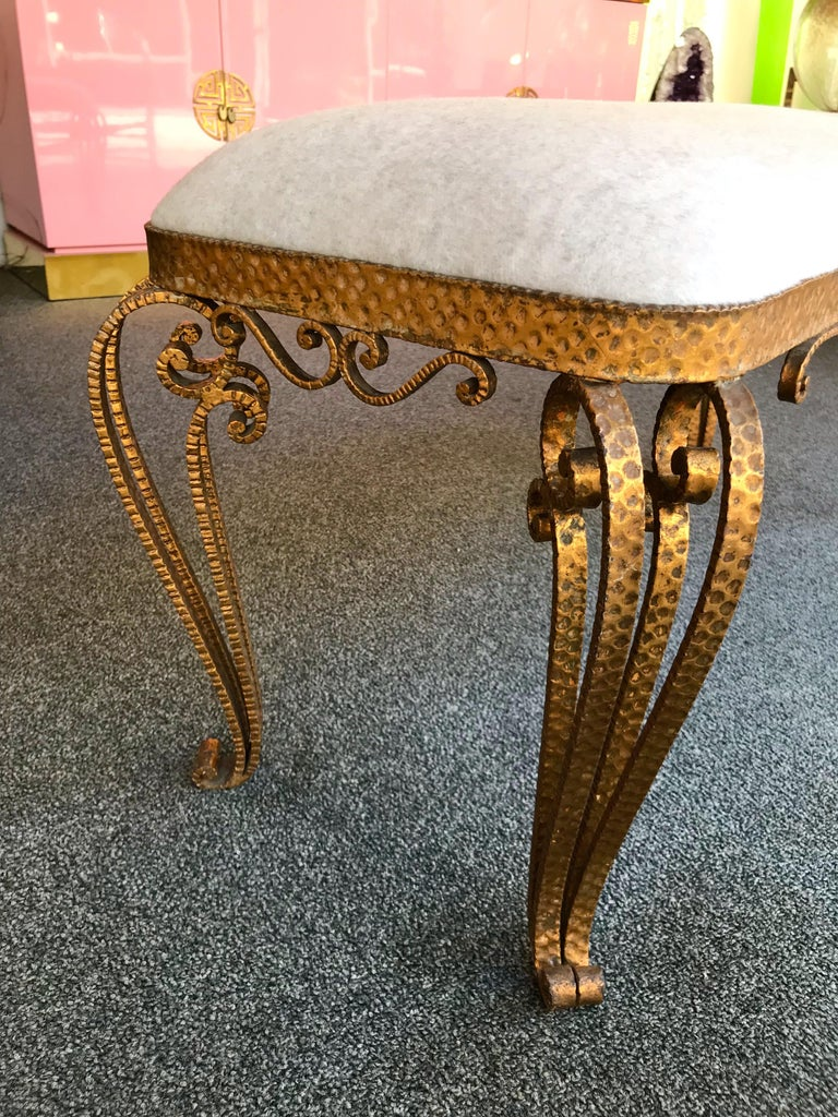 Bench Iron Gold Leaf by Pier Luigi Colli, Italy, 1950s For Sale 1