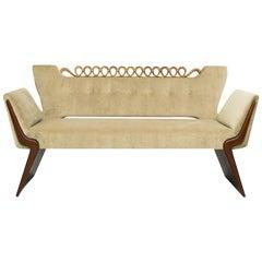 """Bench """"Love-Seat"""" by Osvaldo Borsani, Atelier di Varedo, Wood, Velvet, 1942-1944"""