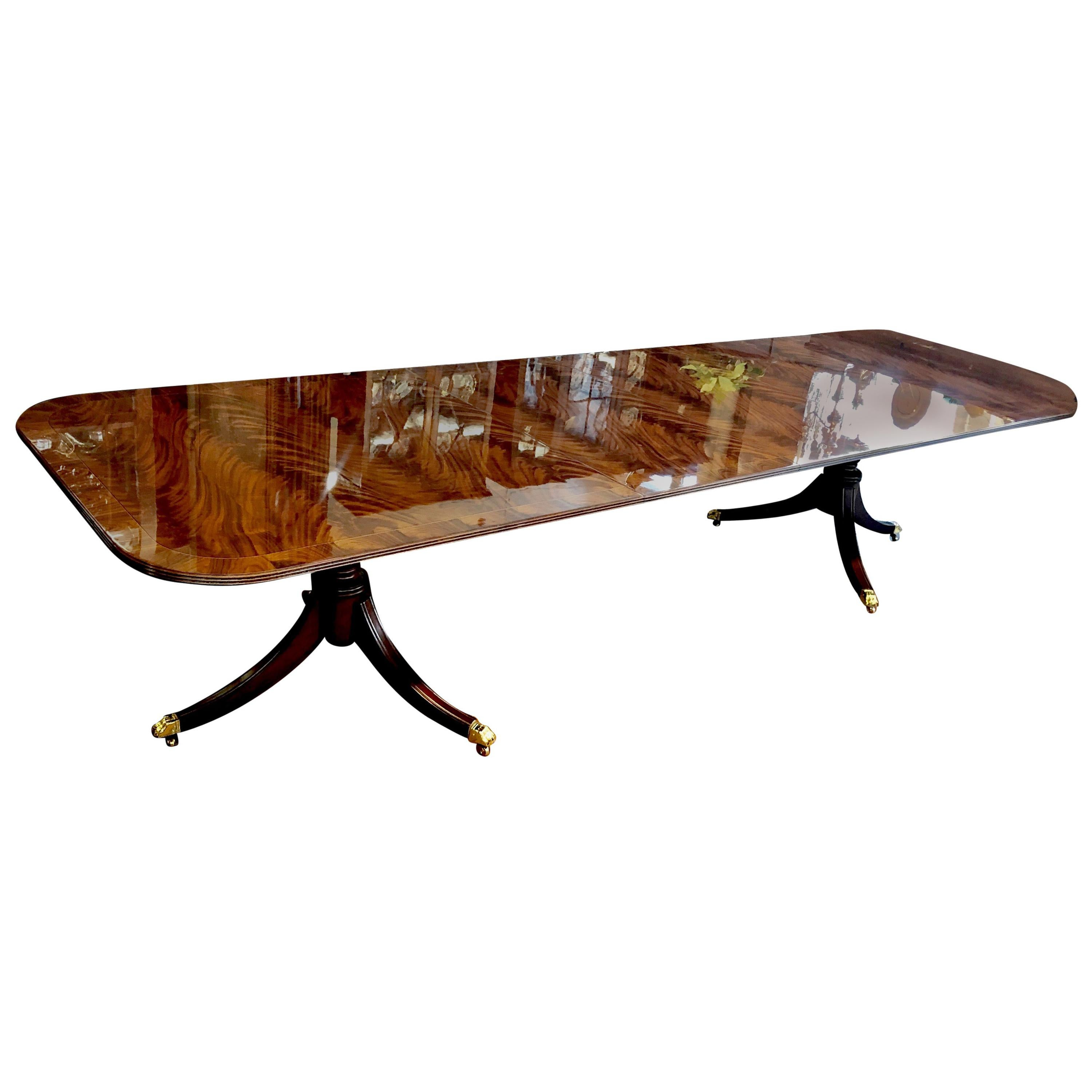 Bench Made Inlaid Flame or Crotch Mahogany Sheraton Style Dining Table
