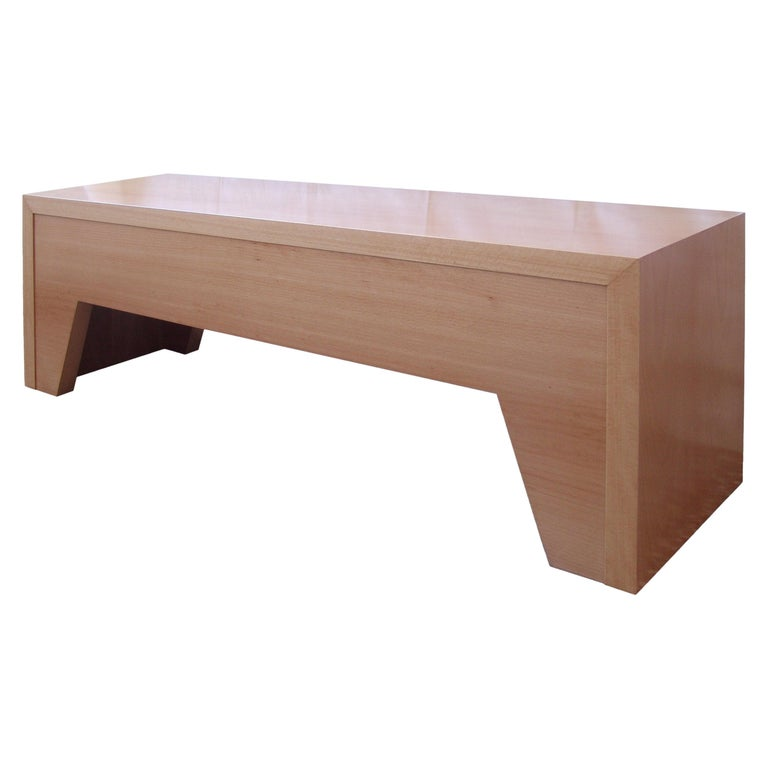 21st Century, Minimalist, European, Bench Made of Lined Beechwood in Light Brown For Sale