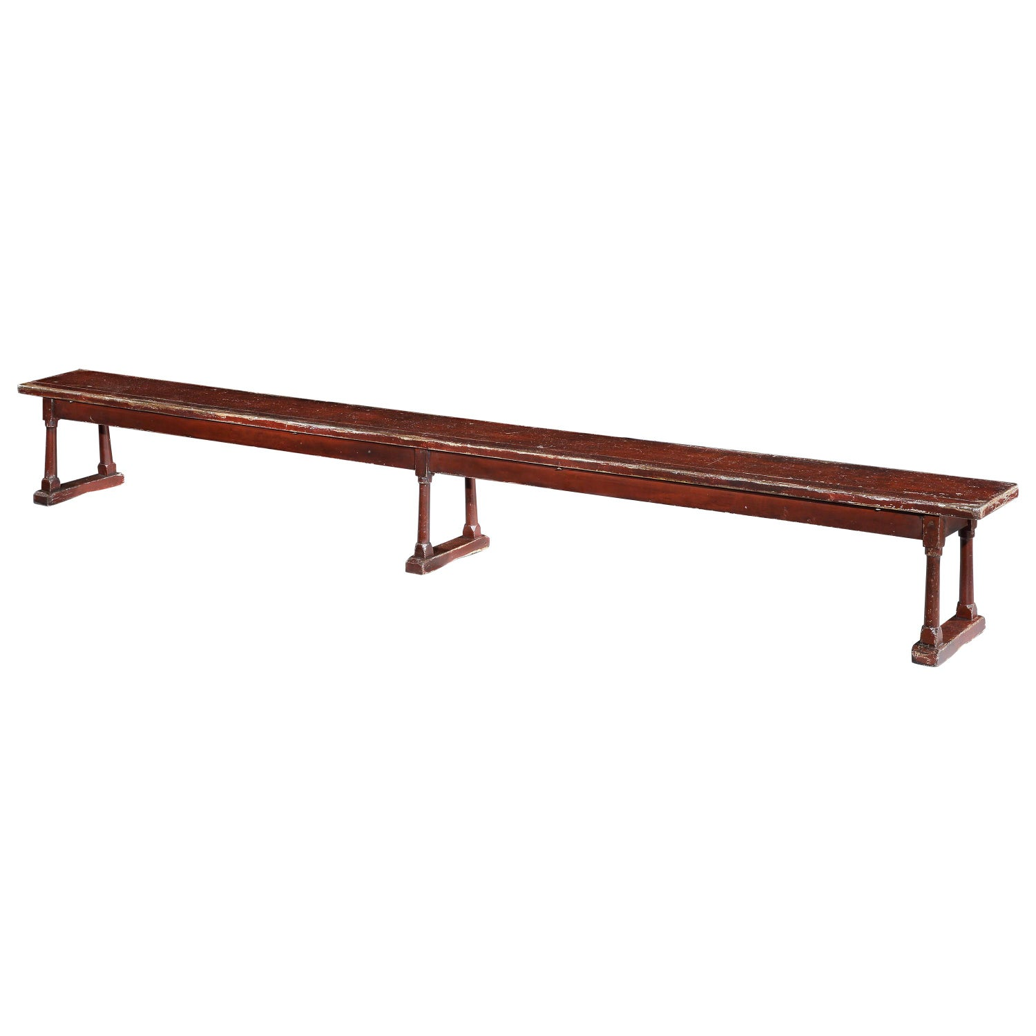 Bench Massive Oxblood Red Painted Pine Country Folk Vernacular