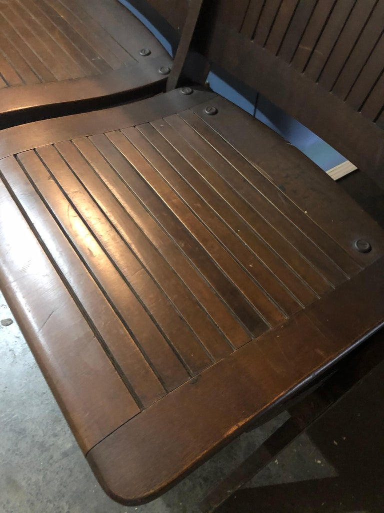 Bench of Oak, 4-Seat, Folding, circa 1920s for Restaurant, Hotel Lobby, Hallway For Sale 1
