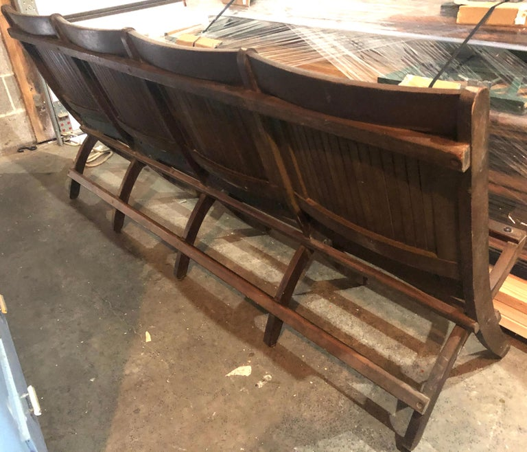 Bench of Oak, 4-Seat, Folding, circa 1920s for Restaurant, Hotel Lobby, Hallway For Sale 4