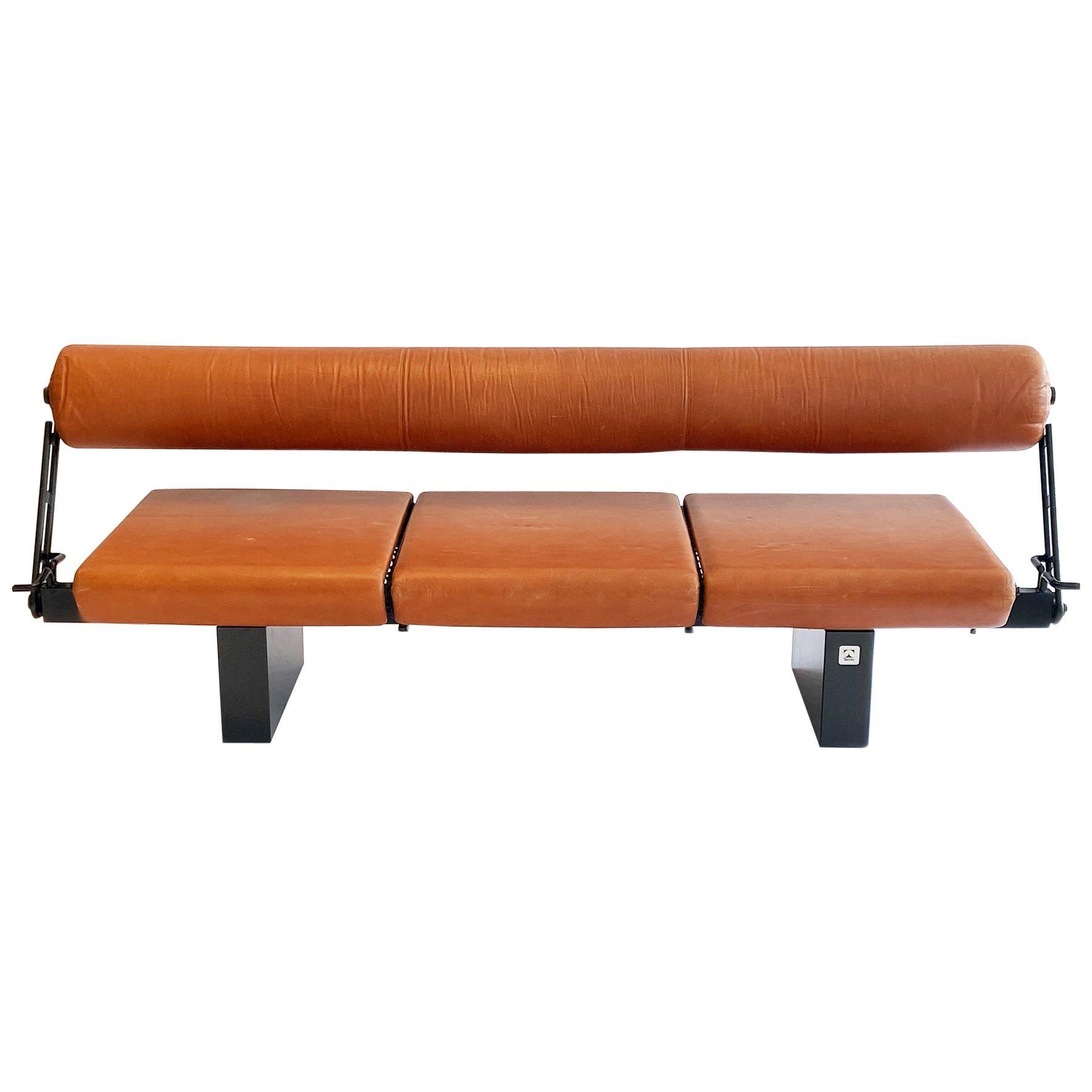 Bench or Sofa in Leather Steel & Granite Osvaldo Borsani for Tecno, Italy, 1980s
