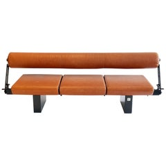 Bench or Sofa in Leather Steel & Granite Osvaldo Borsani for Tecno, Italy, 1980s