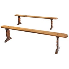 Bench, Pair 18th Century, French, Vernacular, Provincial, Elm, Trestle