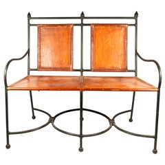 Bench Seat, Iron and Leather, France, circa 1960