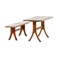 Bench and Table in Pine Attributed to Carl Malmsten
