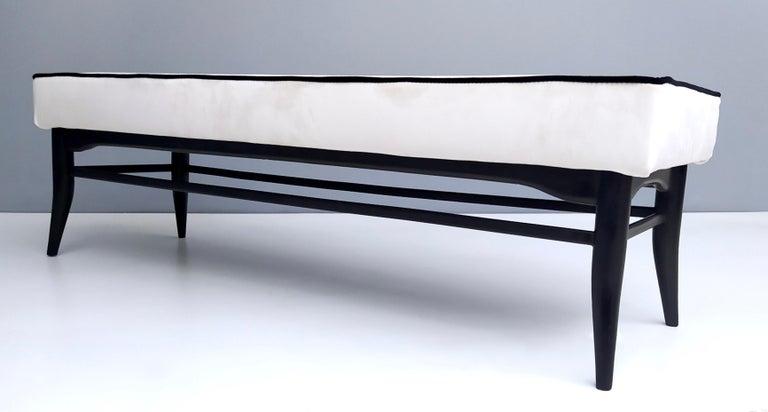 Italian Bench Upholstered in White Velvet with Ebonized Beech Legs, Italy For Sale