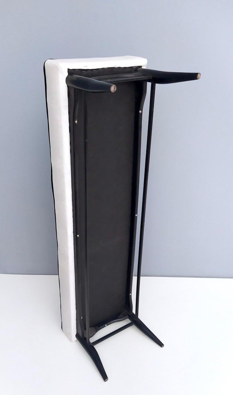 Bench Upholstered in White Velvet with Ebonized Beech Legs, Italy For Sale 3