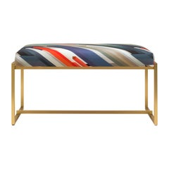 GHYCZY Bench Grace GB03, Brass Matt, Cubiste Printed Fabric